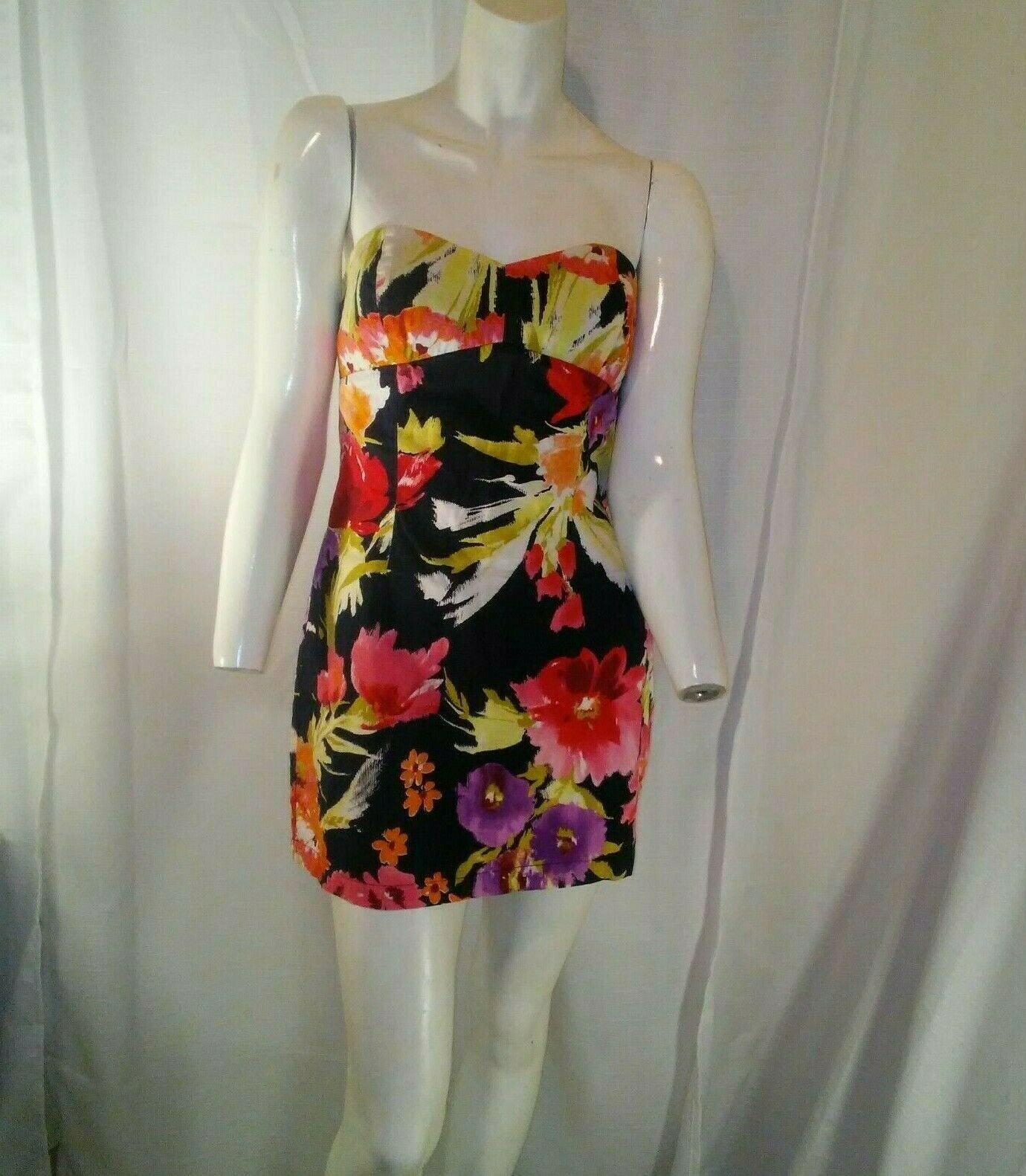 Forever 21 Womens Multicolored Strapless Floral Mini Dress Small