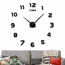 Large Frameless 3D DIY Wall Clock,3D Mirror Wall Clock Large Mute Wall S... - $18.30