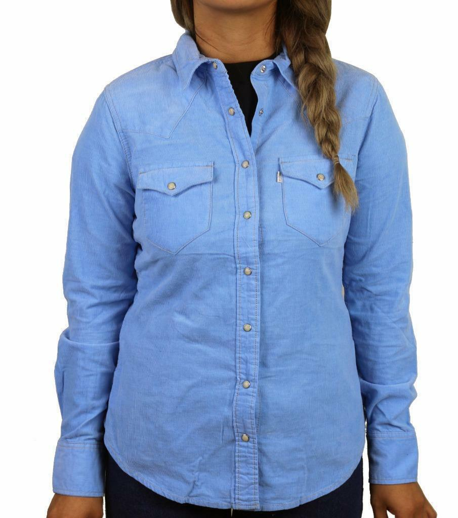 BRAND NEW LEVI'S WOMEN'S CLASSIC TAILORED CORDUROY WESTERN SHIRT  BLUE LHW3115R