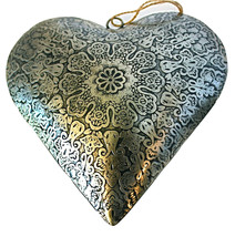 """Unique Handmade Etched Tin 7""""Heart by Culturas Trading Company-Valentine... - $15.19"""