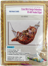 Needlepoint Embroidery Kit APT Hobby Products Pleasantly Plump Cat In Ha... - $30.44