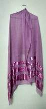 Sequins Work Pink Stole Scarf Shawl Neck Wrap Fine Quality+ 1 Pc Complem... - £28.96 GBP