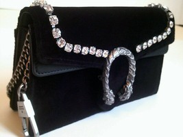 GUCCI Black Velvet Dionysus Super Mini Bag w/ Crystals & Chain Shoulder ... - $799.00