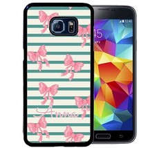 PERSONALIZED RUBBER CASE FOR SAMSUNG S9 S8 S7 S6 S5 PLUS TEAL STRIPES PI... - $14.98