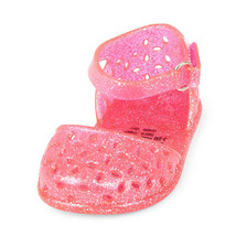 NWT The Childrens Place Baby Girl Pink Floral Cutout Glitter Jelly Sanda... - $7.99