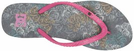 DC Women's Spray Graffik Military Rose Hot Pink Summer Flip Flop Sandal NWT image 5