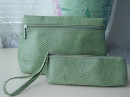 2pc Clinique Snakeskin Green Cosmetic Bag & Wristlet - $10.88