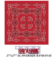 "XL BIG SUPER OVER-SIZED RED PAISLEY 27"" Bandanna Cotton HEAD BANDANA Wra... - $10.99"