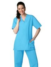 Scrub Set  Turquoise V Neck Top Drawstring Pants L/XL Adar Medical Uniforms - $34.89