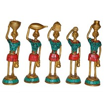Aakrati Set of Five Red Indians Ladies Statue for Home Decor Tribal Figu... - $93.99