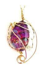 Dichroic Fused Glass wire wrap pendant multi color pink 14 K GF wire - $47.52