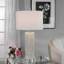 ZESIRO MODERN CERAMIC TABLE LAMP POLISHED NICKEL METAL CRYSTAL BASE UTTE... - $297.00
