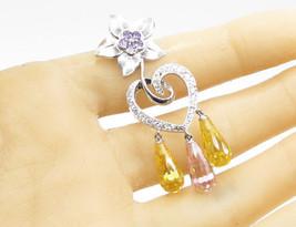 925 Silver - Purple & White Cubic Zirconia Floral Love Heart Drop Pendan... - $36.42