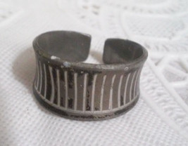 Vintage MCM Jorgen Jensen Denmark Modernist Pewter Cuff Ring Adjusts Siz... - $28.50