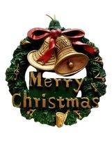 Merry Christmas Wreath and Golden Bells Ornament Party Favors - $5.93 CAD