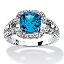 1.97 TCW Blue CZ Halo Ring Platinum over .925 Sterling Silver - $20.50
