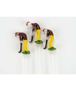 Golf Art Glass Swizzle Sticks 3 pc Set, Vintage Art Glass, Golfer Stir S... - $24.50