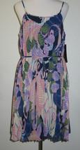 Nicole Miller Studio Spaghetti Strap Tie Waist Chiffon Pleated Dress Siz... - $37.62