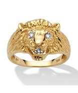 Men's Diamond Accent Solid 10k Yellow Gold Lion's Head Ring - $284.82