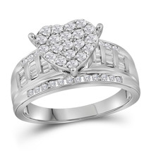 10k White Gold Womens Round Diamond Heart Cluster Bridal Wedding Engagem... - $855.00