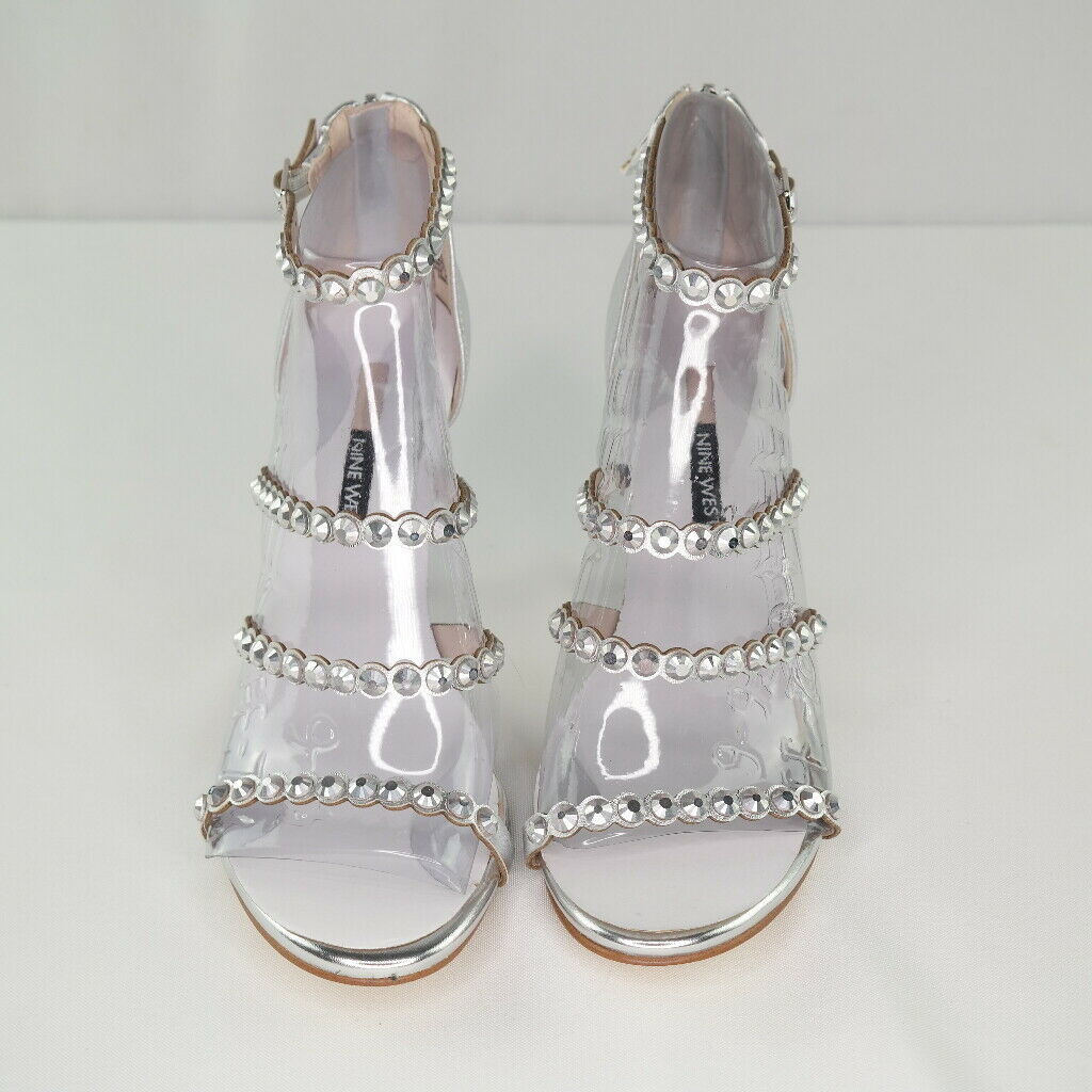 Nine West Vandison Dress Sandals Sz 9 Womens Silver Strappy High Heel Shoes