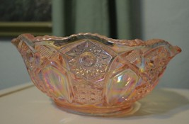 Vintage depression clear pink cut Glass Salad fruit table Bowl Iridescent - $33.63
