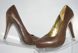 "G by Guess Belanova brown stitched tip casual pump 4.5"" heel platform shoe 8.5M - $15.61"