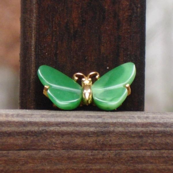 Vintage Crown Trifari© Faux Jade Butterfly Brooch