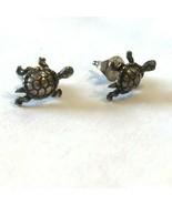 Vtg Earrings Tiny turtles Silver post Pierced kitsch kawaii Hippie Boho Chic  - $18.80