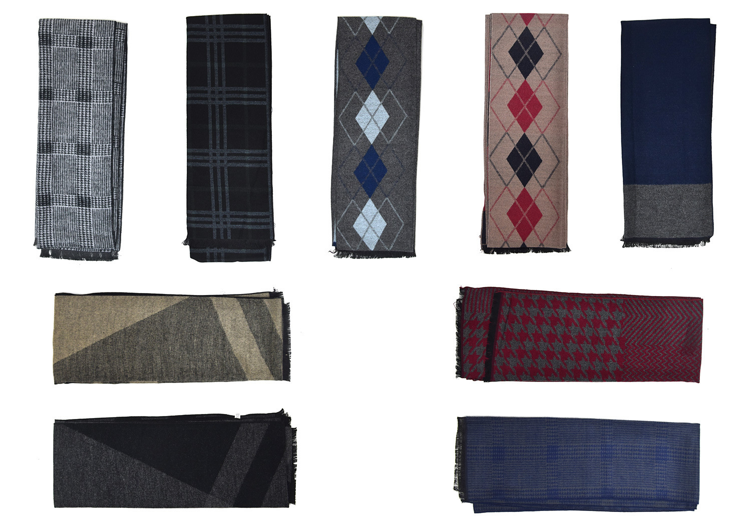 Case of [24] Men's Winter Scarves - Assorted Designs