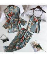 3 Pcs Printing Pijamas Women Robe Sets Spaghetti Strap+Cardigan+Full Pan... - $22.90