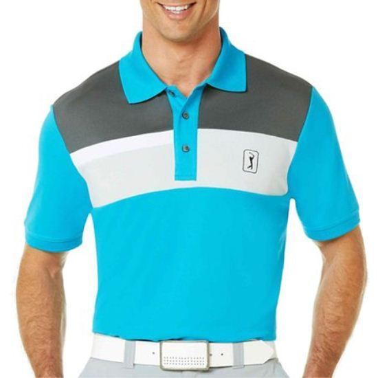 Primary image for PGA TOUR Pro Series Linear Block Chest Polo Sizes S, L, XL New Msrp $60.00