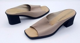 EASY SPIRIT Size 9.5 Tan Stretchy Open Toe Canvas Slide Block Heel Sandals - $22.67