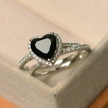 2.40 Ct Heart Cut Black Diamond Bridal Set Engagement Ring 14K White Gol... - $129.99