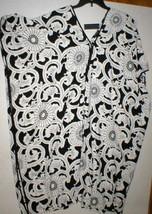 NWT New Designer Natori Night Gown Silky M Satin Black White Tunic Cafta... - $117.00