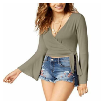American Rag Juniors' Hits At Waist Tie-Front Bell-Sleeve Crop Top - $23.75