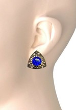 """7/8"""" Drop Vintage Inspired Clip On Earrings Cobalt Blue Crystal, Made in USA - $12.35"""