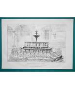 ITALY Perugia  Fontana Maggiore Fountain - 1876 Antique Print - $13.49