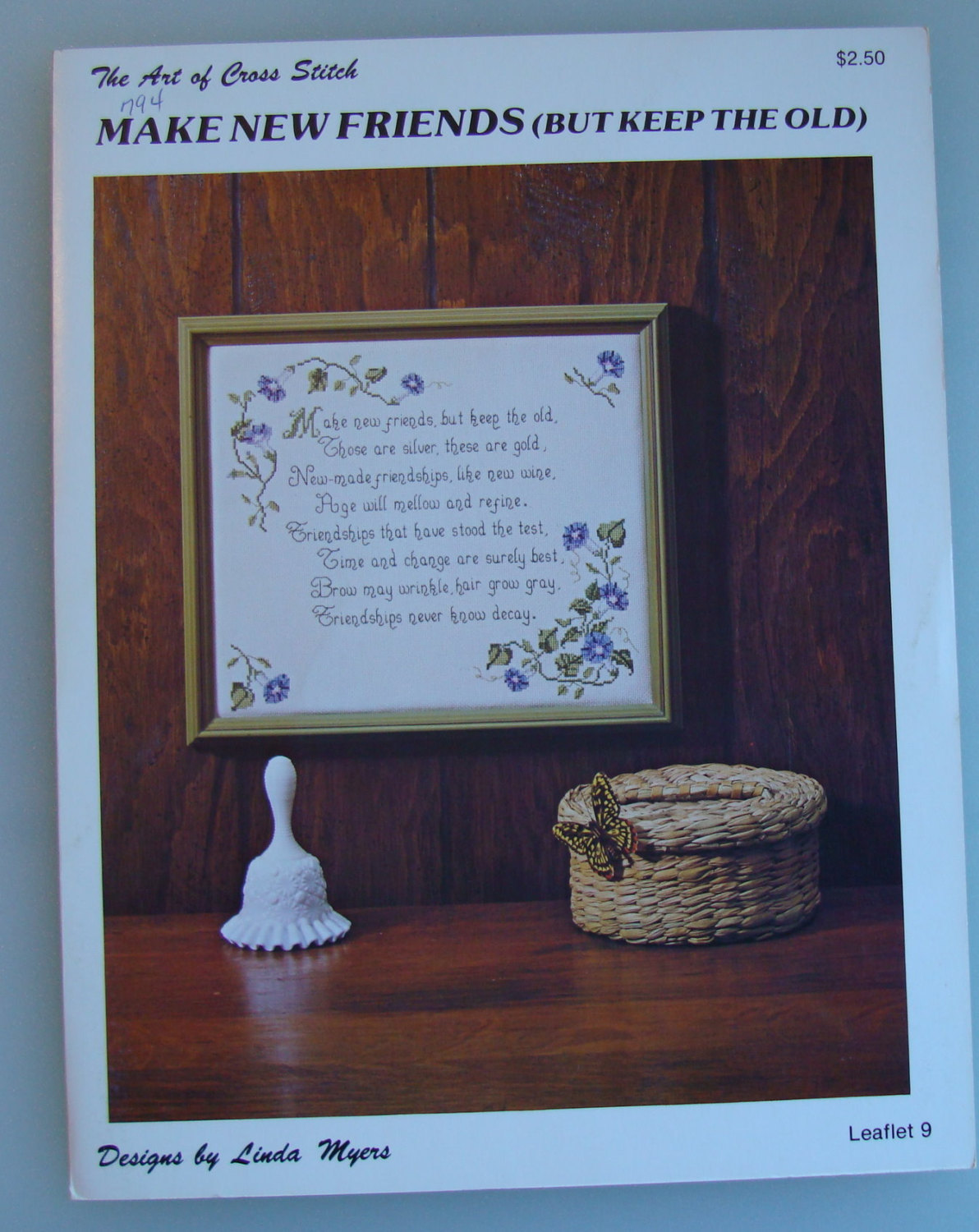 "Vintage Cross Stitch Pattern Leaflet "" Make New Friens But Keep The Old ""    Use"
