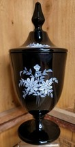 "Fenton Black Glass Hand Painted Covered Candy Dish 9.5"" Hand Painted K Haught - $108.89"