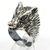 925 Silver Ring, Burnished Head of Wolf, Adjustable Size image 1