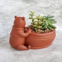 Winnie the Pooh Planter with Succulent Arrangement, Redware Animal Plant Pot image 7