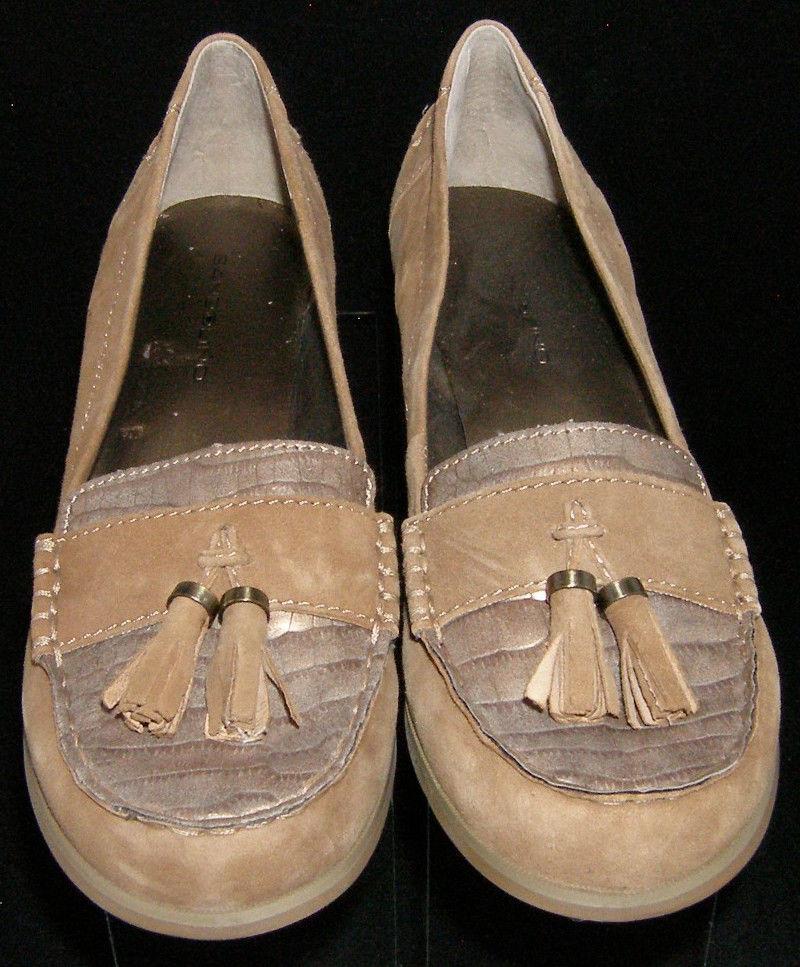 Bandolino 'Lapile' brown leather croc print tassel penny loafer block heel 8.5M