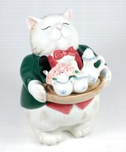 Vintage 1988 FITZ & FLOYD Kittens of Knightsbridge Cat Butler Candy Box ... - $42.55