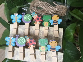30pcs Cartoon Gift Favors,Wooden Paper Photo Pegs,Wooden Clips,Pin Clothespin - $7.20