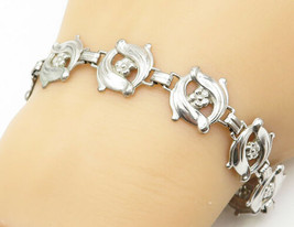 G&S & CO. 925 Silver - Vintage Flower Swirl Designed Link Chain Bracelet... - $44.04