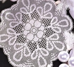 Z448 Filet Crochet PATTERN ONLY Loop de Loop Doily Table Scarf Pattern - $8.50