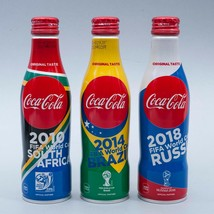 FIFA World Cup Design Coca Cola Aluminum Full 250ml 3 Slim bottles Japan B - $41.58
