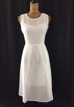 NEW Dress 10 Large Ellen Tracy White Illusion Windowpane Fit Flare Midi ... - $74.95