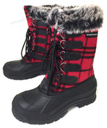 Womens Winter Boots Flannel Plaid Fur Warm Insulated Waterproof Hiking S... - $26.62+